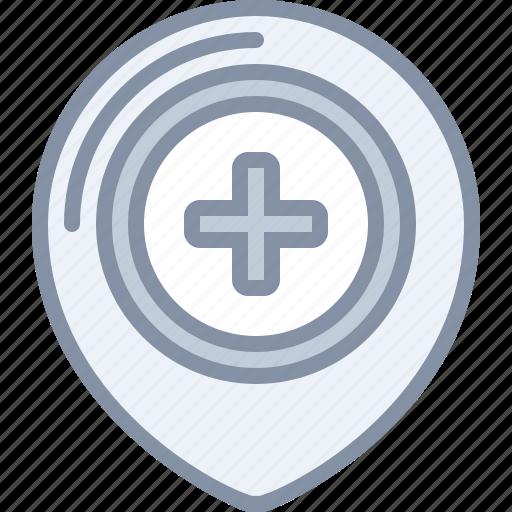 destination, health, hospital, location, medical, pin icon