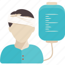 head, hospital, injured, medical, patient, saline, standing icon