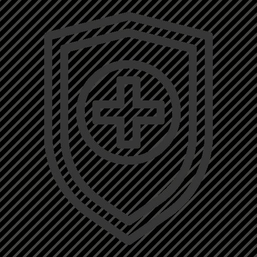 emblem, guard, hospital, medical, protect, shield, sign icon