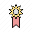 achievement, badge, medal, ribbon, success icon