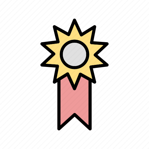 achievement, badge, medal, ribbon, success icon