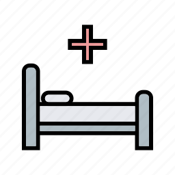 bed, hospital bed, treatment icon