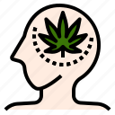 brain, effect, marijuana, medication, pain, target icon