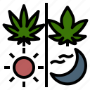 cannabis, day, hemp, indica, night, sativa, weed icon