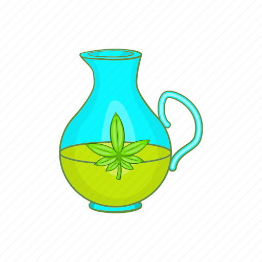 bottle, cartoon, hemp, label, natural, oil, organic icon