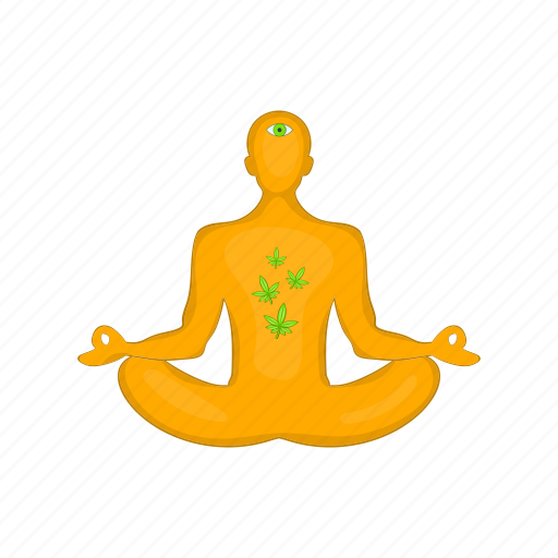 cartoon, health, lotus, man, marijuana, meditating, position icon