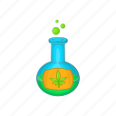 cartoon, flask, leaf, marijuana, medical, test, tube icon