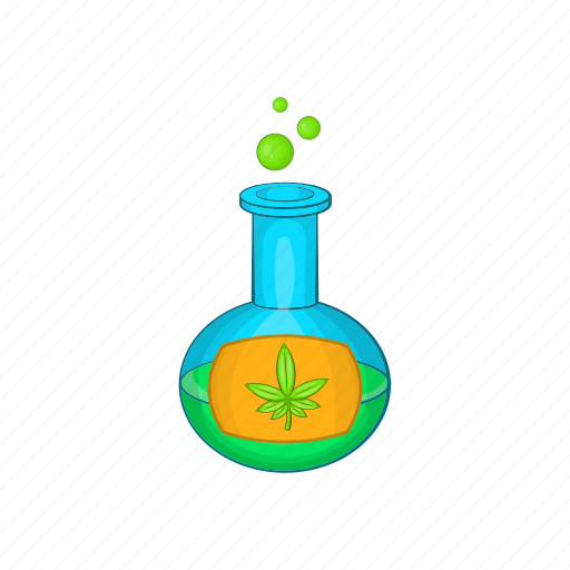 Cartoon, flask, leaf, marijuana, medical, test, tube icon - Download on Iconfinder
