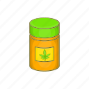 addict, addiction, addictive, bottle, cannabis, cartoon, medicinal icon