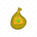 bag, cannabis, cartoon, marijuana, weed icon
