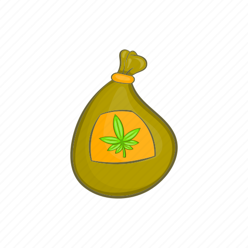 bag, cannabis, cartoon, marijuana, weed icon