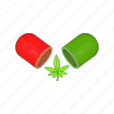 cannabis, capsule, cartoon, drug, health, medicinal, pill icon