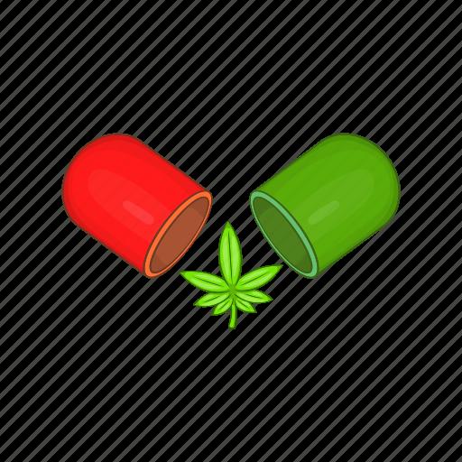 cannabis, capsule, cartoon, drug, health, medicinal, pill icon