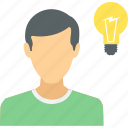 human, idea, innovation, lightbulb, thinking icon