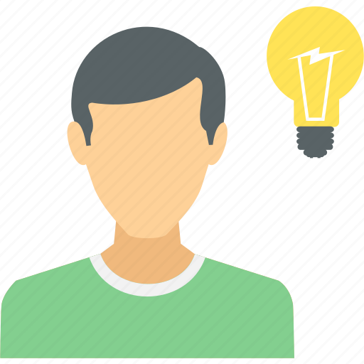 human, idea, innovation, lightbulb, thinking icon