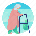 elder, elderly, hospital, walker, woman icon