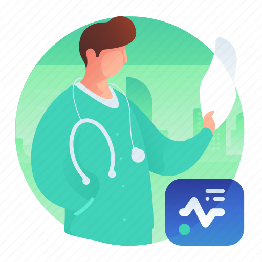 doctor, man, medical, scan, test icon