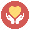 charity, hand, heart care, help, hope, love, medical icon