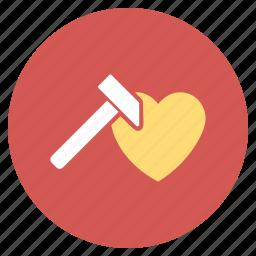 break tool, hammer, heart, love, romance, romantic, valentine icon