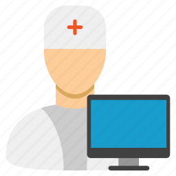computer doctor, healthcare, medical, monitor, screen, stethoscope, web medicine icon