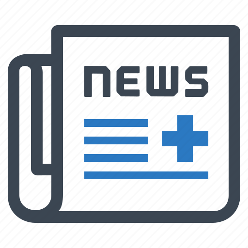 healthcare, medical news, newspaper icon