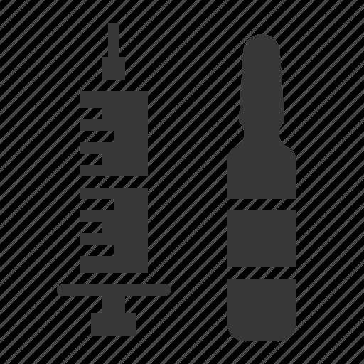 ampule, drug, hospital, medical, medicine, needle, syringe icon