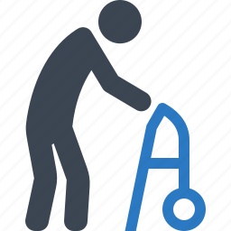 gerontology, old man, patient, walker icon
