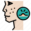 acne, allergy, facial, hormone, irritation, scratch icon