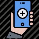 app, equipment, hand, medical, medicine, phone, technology icon