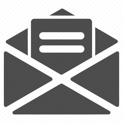 communication, correspondence, email, envelope, letter, message, open mail icon