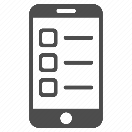 checklist, device, form, items, mobile, task list, telephone icon