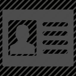 card, case record, data, info, information, patient profile, profile icon