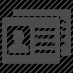 card, cards, case record, data, information, patient profile, profile icon