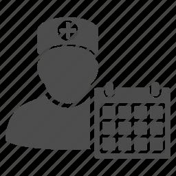 calendar, clock, doctor, event, hospital, schedule icon