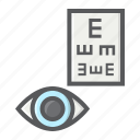 correction, exam, eye, healthcare, medicine, optometry, test icon
