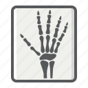 bone, hand, medicine, radiology, ray, x, xray icon