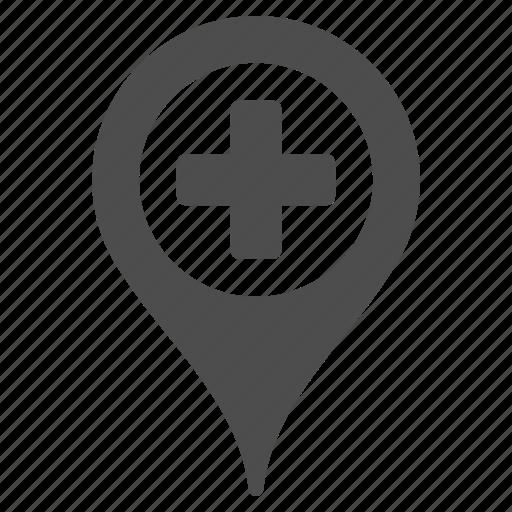 clinic pointer, globe, gps, hospital location, map marker, medical flag, pin icon