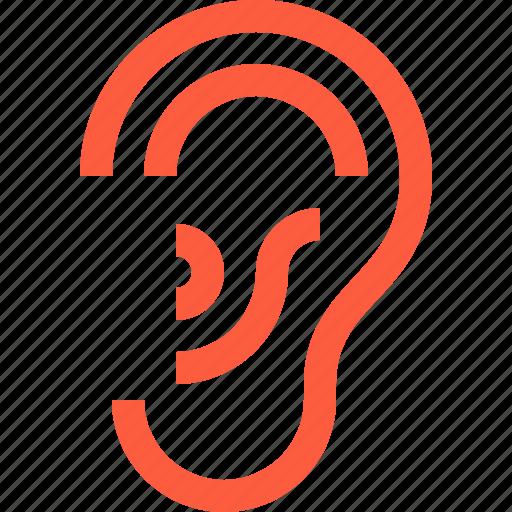 body, ear, hearing, listening, medical, otorhinolaryngology, sense icon