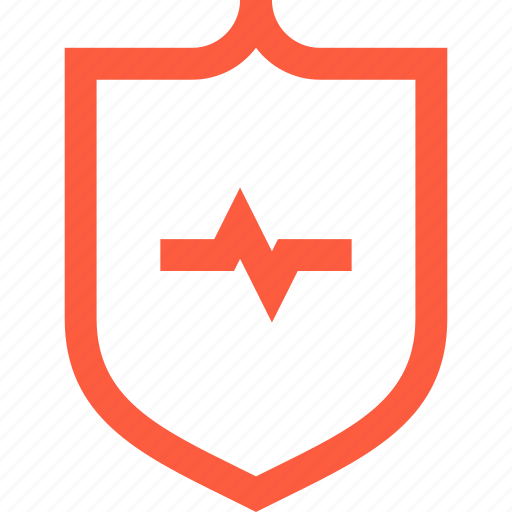 cardiography, hearbeat, heart, medical, protection, shield icon