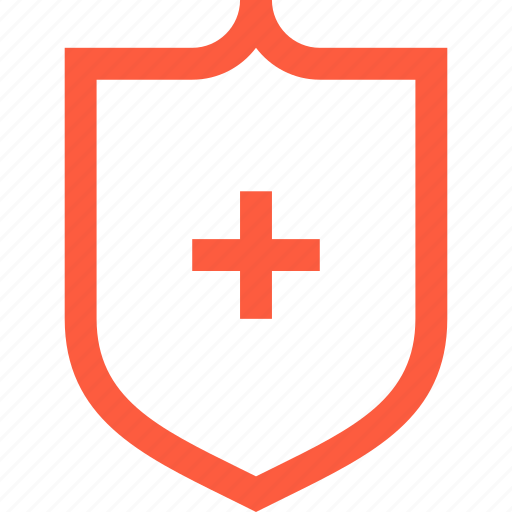 cross, hospital, medical, medicine, protection, red, shield icon
