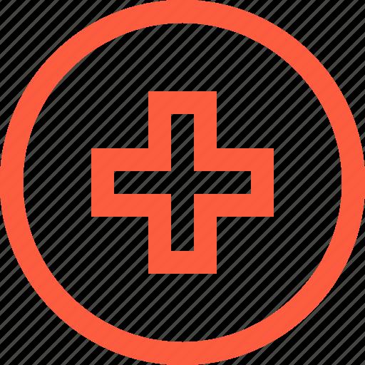 cross, logo, medical, medicine, organization, red, sign icon