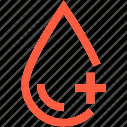 blood, drop, factor, medical, rhesus, sample, test icon