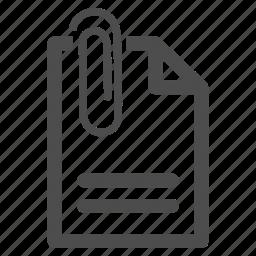 attach, attached, attachement, attachment, document, paper clip, paperclip icon