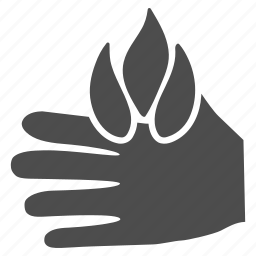 burn hand, fire, flame, pain, palm damage, scald, scorch icon