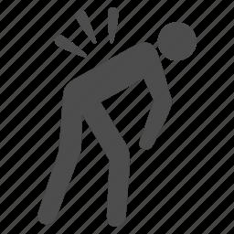 back pain, backache, body damage, health problem, injury, sciatica, spine ache icon