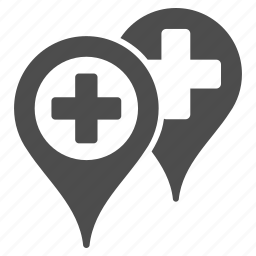 clinic location, gps, hospital locations, map marker, pin, pointer, position icon