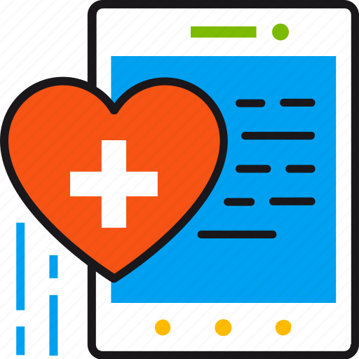 app, health, healthcare, heart, mobile, tablet, technology icon