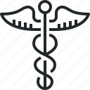 caduceus, care, health, medical, medicine, sign icon