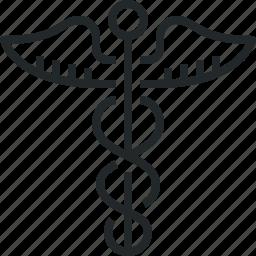 caduceus, care, health, medical, medicine, sign icon
