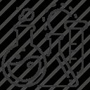 flasks, fluid, laboratory, medical analysis icon